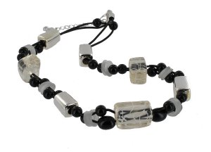 Chicos NEW Silvertone Black Clear Bead Necklace
