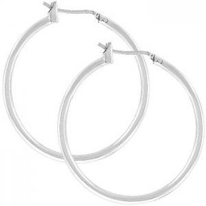 """NEW White Gold Silver Hoops 1.2"""" Hoop Earrings"""