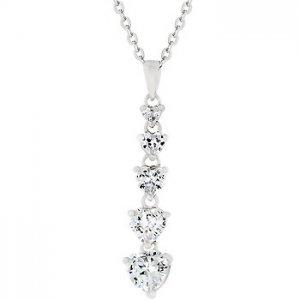 NEW White Gold CZ Journey HeartPendant Necklace