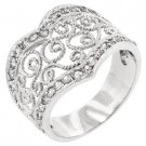 NEW White Gold Silver Filigree CZ Heart Ring