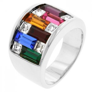 New White Gold Multi-Color Swarovski Crystal Ring