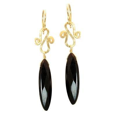 Calico Juno 14k Gold Black Onyx Dangle Earrings