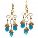 Calico Juno 14k Gold  Turquoise Garnet Earrings