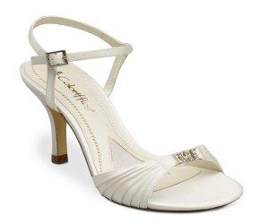 Ivory Satin Sandal Chain Ornament High Heel Shoes