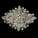 Elegant Crystal Silver Bridal Brooch Pin Hair Clip