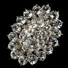 Vintage Crystal Silver Bridal Brooch Pin Hair Clip