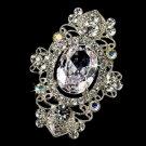 Vintage Crystal Silver AB Bridal Brooch Pin Hair Clip