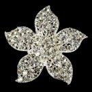 Silver Crystal Flower Bridal Brooch Pin Hair Clip