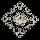 Silver Vintage Square Crystal Bridal Brooch Pin