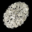 Elegant Crystal Oval Bridal Brooch Pin Hair Clip