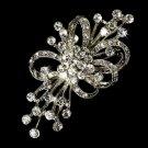 Elegant Vintage Silver Crystal Bridal Brooch Pin