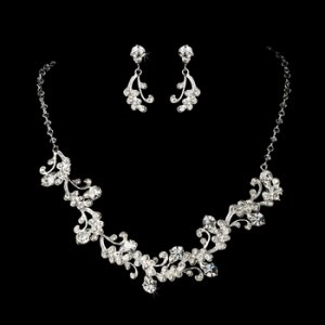 Silver Swarovski Crystal Bridal Necklace Earring Set