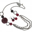 Chicos NEW Silver Burgundy Necklace Earrings Set
