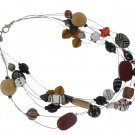 Chicos NEW Red Black Wood Floating Beads Necklace