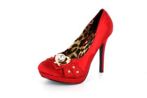 New Red Satin Gold Heart  Pumps High Heels Shoes