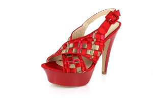 New Red Criss Cross Straps Platform High Heels Shoes