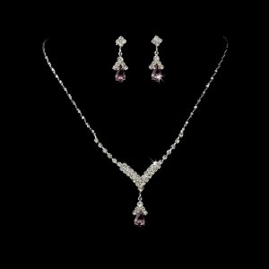 Silver Light Amethyst Crystal Drop Necklace Earring Set