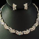 Silver AB Rhinestone Wedding Necklace Earring Set