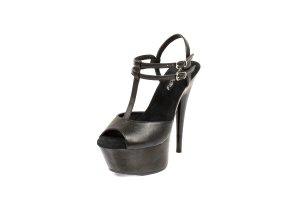 Black T Strap Platform High Heel Shoes