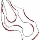White House Black Market Silver Red Long Necklace