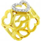 NEW 14K Gold CZ Heart Eternity Ring