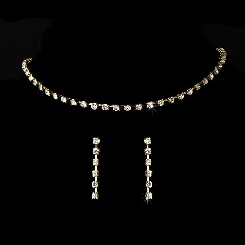 Gold Rhinestone Single Row Choker Necklace Earring Set