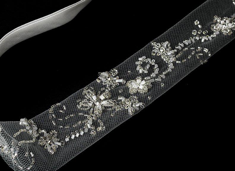 Beautiful Floral Sheer Netting Sequin White Headband