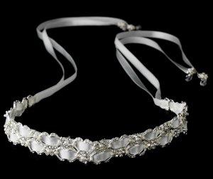 Silver Rhinestone Pearl White Ribbon Headband Tiara