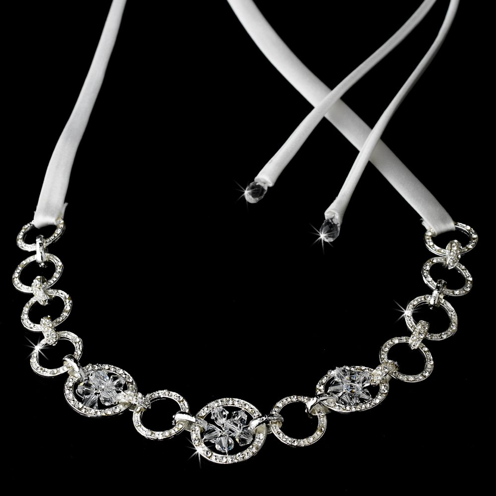 Silver Swarovski Crystal While Ribbon Headband Tiara