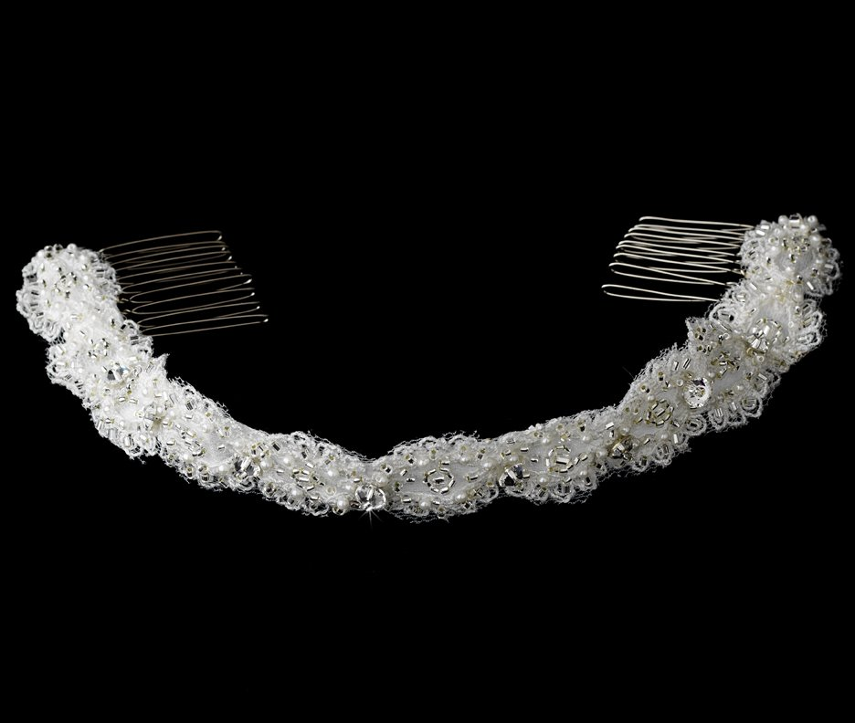 Swarovski Crystal Pearl White Ribbon Headband