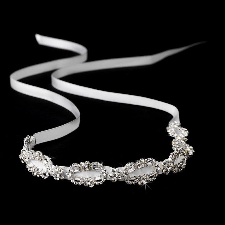 Silver Crystal Rhinestone Ivory Ribbon Headband Tiara