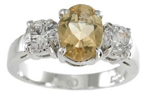 NEW 925 Sterling Silver CZ Genuine Citrine Ring