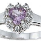 NEW 925 Sterling Silver CZ Heart Genuine Amethyst Ring