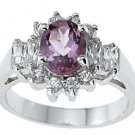 NEW 925 Sterling Silver CZ Genuine Amethyst Ring