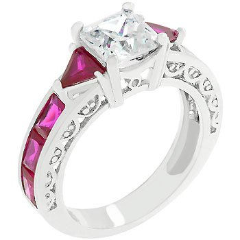 New White Gold Silver Trillion Cut Ruby Crystals Ring