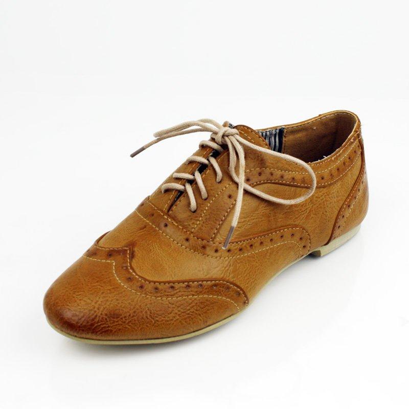 Tan Boyfriend Wing Tip Oxford Flat Womens Shoes