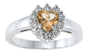 NEW 925 Sterling Silver CZ Genuine Citrine Heart  Ring