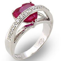 NEW 925 Sterling Silver Ruby Heart CZ Ring