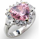 NEW 925 Sterling Silver Rosette Pink Heart CZ Ring