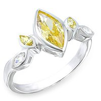 NEW 925 Sterling Silver Marquise Citrine CZ Ring
