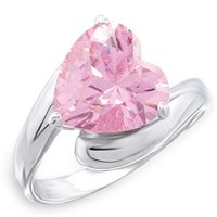 NEW 925 Sterling Silver Pink Heart CZ Ring