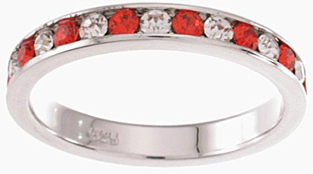 NEW 925 Sterling Silver CZ Ruby Eternity Band Ring