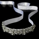 Rhinestone White Ribbon Bridal Headband Tiara