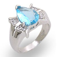 NEW 925 Sterling Silver Aqua Pear CZ Ring