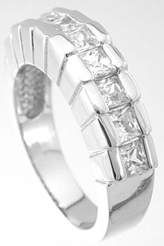 NEW 925 Sterling Silver Princess Cut CZ Ring