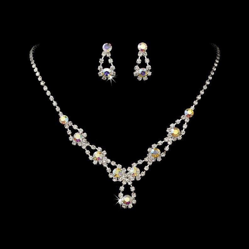 Silver Clear AB Rhinestone Crystal Necklace Earring Set