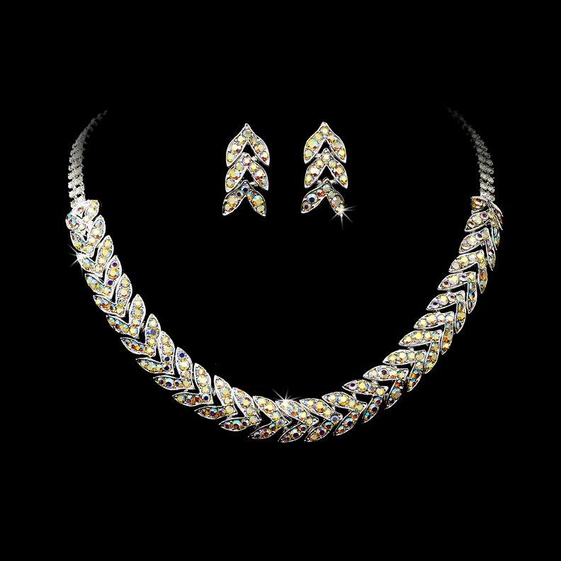 Silver AB Rhinestone Choker Necklace Earring Set