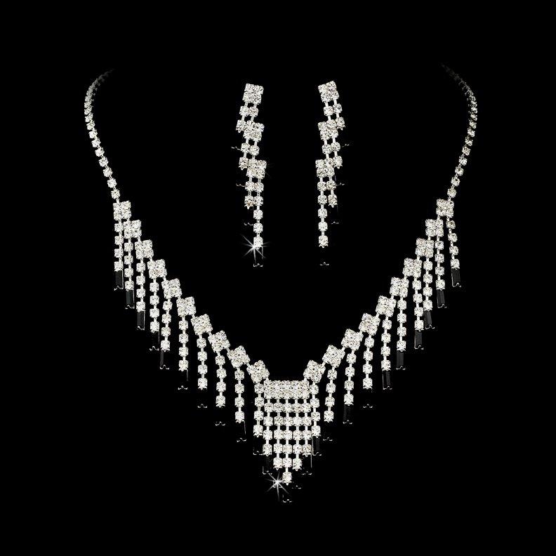 Silver Black Crystal Chandelier Necklace Earring Set