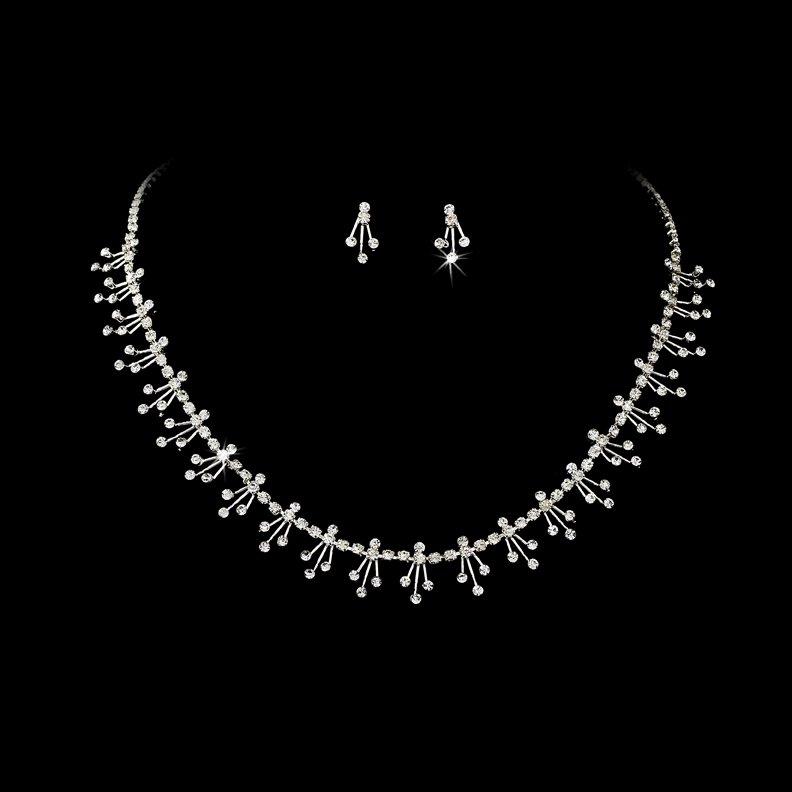 Silver Clear Rhinestone Dazzel Necklace Earring Set