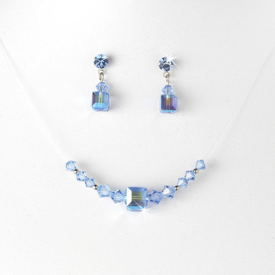 Light Blue Swarovski Crystal Necklace Earring Set